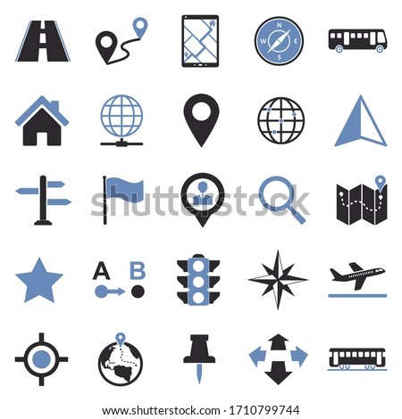 Map And Location Icons. Two Tone Flat Design. Vector Illustration. ストックフォト ©