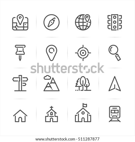 Map and location icons with White Background
