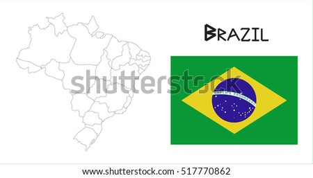 map and national flag of brazil