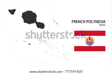 Map and National flag of French Polynesia (France).