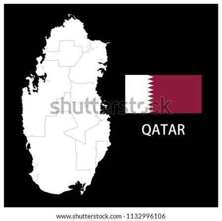 Map and National flag of Qatar,Map Of Qatar With Flag Isolated On Black Background,Vector Illustration Flag and Map of Qatar for continue.