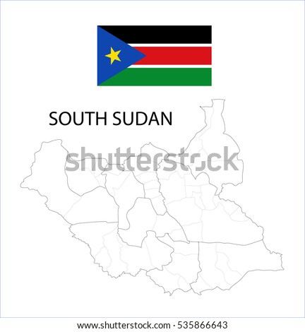 Map and National flag of South Sudan.