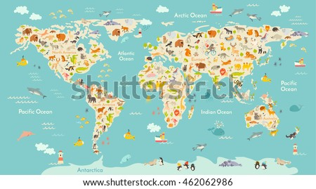 map animal for kid continent