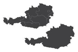 Map - Austria Couple Set , Map of Austria ,Vector illustration eps 10.