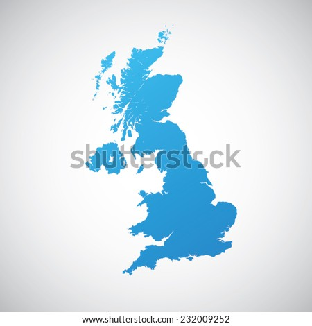 map blue of united kingdom