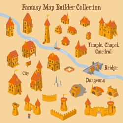 Map builder illusrations for fantasy and medieval cartography and adventure games