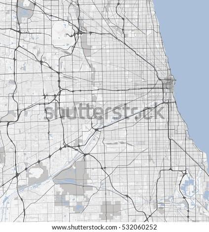 map chicago city illinois roads