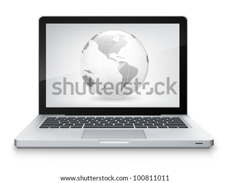 Map Concept. Laptop on Grey Gradient Background. Vector.