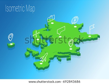 Map Europe isometric concept. 3d flat illustration of Map Europe.