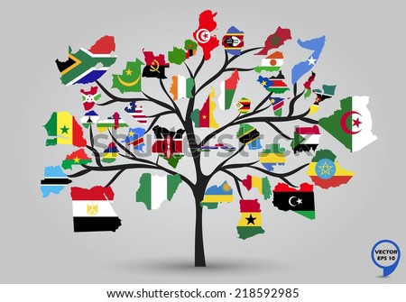 Ghana map with flag vector download free vector art stock map flags of africa in tree design vector illustration gumiabroncs Images