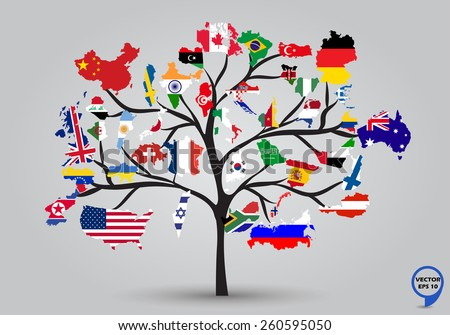 Uae map and flag download free vector art stock graphics images map flags of the world in tree design vector illustration gumiabroncs Images