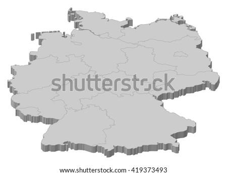 map   germany   3d illustration