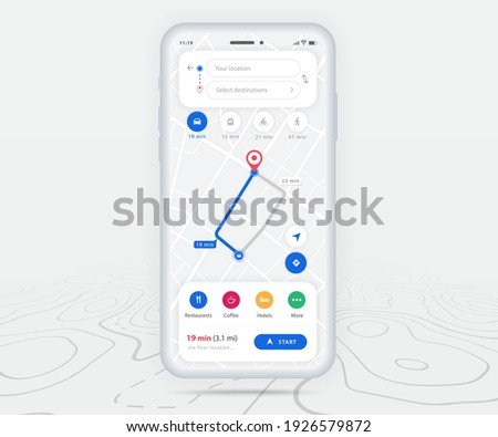 Map GPS navigation app ux ui concept, Mobile map application, Smartphone App search map navigation, Technology map, City navigation maps, City street, gps tracking, Location tracker, Vector