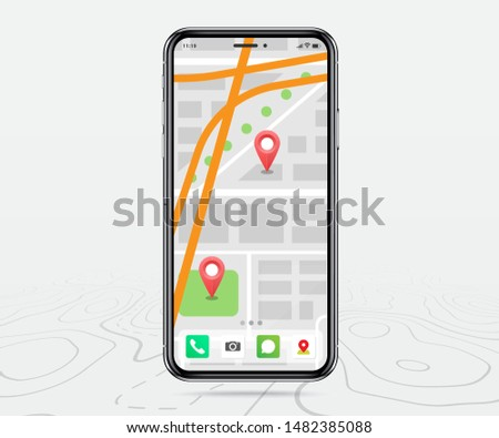 Map GPS, Smartphone map navigation application and red pinpoint on screen, App search map navigation, isolated on line maps background, Vector illustration