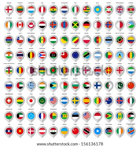 Map gray marker with flags. Country: European union, Argentina, Finland, Denmark, France, Austria, Switzerland, Greece, India, China, United Kingdom, Sweden, Usa, Italy, Ireland and many other. 108pcs