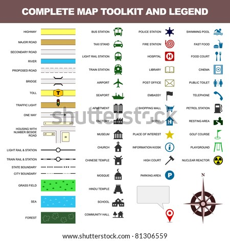 map icon legend symbol sign toolkit element - stock vector