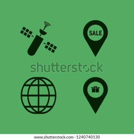 map icon. map vector icons set sale location, satellite, globe and gift location