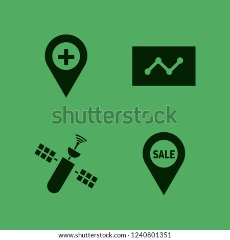 map icon. map vector icons set sale location, statistics, satellite and hospital location
