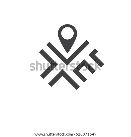 Map icon on the white background