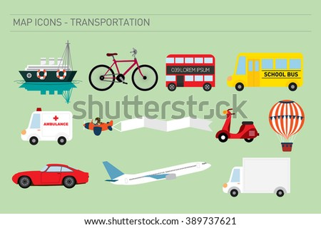 map icons of transportation