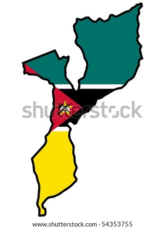 map in colors of Mozambique