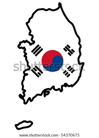 map in colors of South Korea