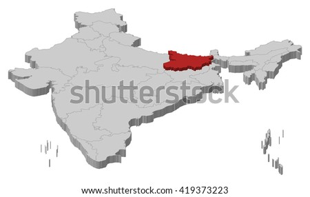 Map India Bihar 3d Illustration Ez Canvas