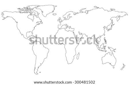 White world map vector download free vector art stock graphics world map watercolor vector illustration map line gumiabroncs Choice Image