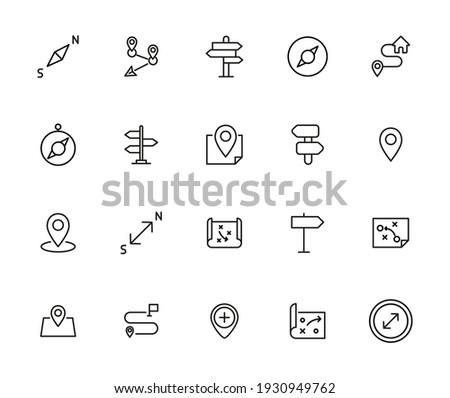 Map line icons set. Stroke vector elements for trendy design. Simple pictograms for mobile concept and web apps. Vector line icons isolated on a white background. Stockfoto ©