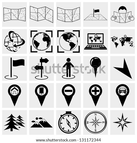 Map, location and destination vector  icons set