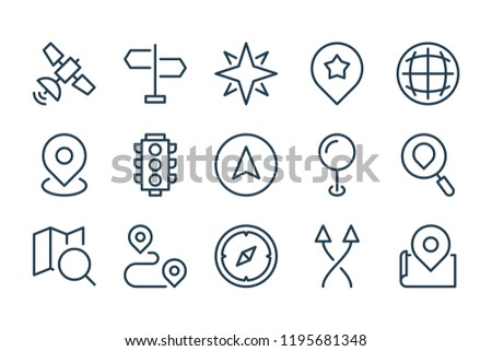 Map location and navigation line icons. Traffic and travel vector linear icon set. ストックフォト ©