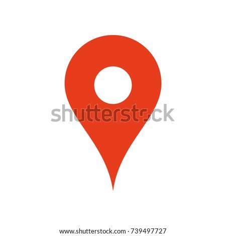 Map location icon, pin gps symbol