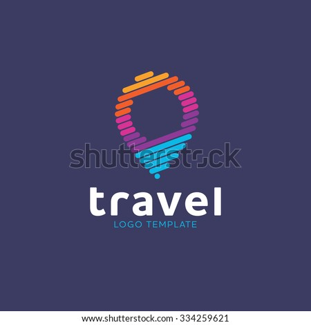 Map location. Travel logo. Map color concept. Pin logo. Location logo. Pointer logo. Trip logo
