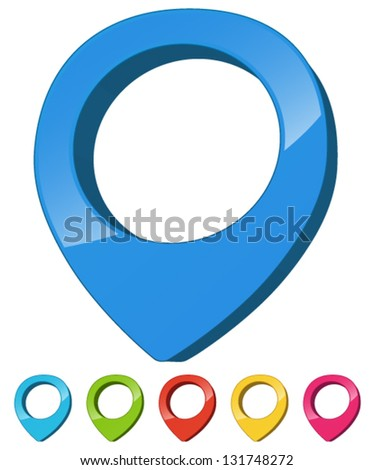 Map Marker - Bold 3d Thick Multi-colored - Destination, Pinpoint, Location, End point, Finish, Pin, Mark, Locate