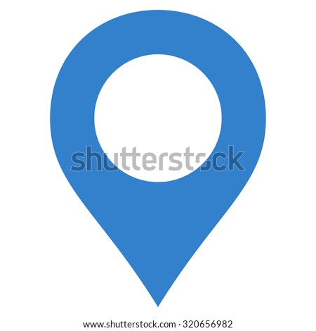 Map Marker icon from Primitive Set. This isolated flat symbol is drawn with cobalt color on a white background, angles are rounded.
