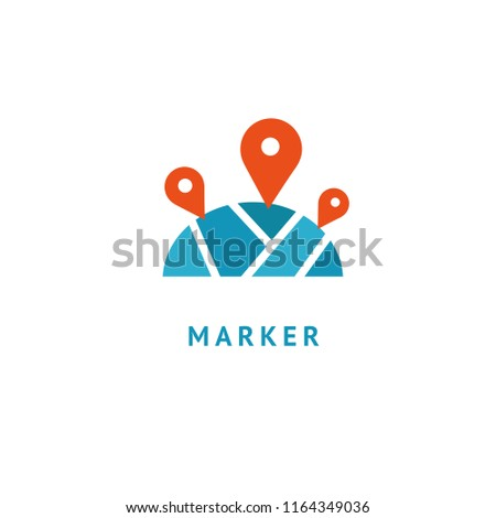 Map marker icon. Vector flat style illustration location pin logotype design. Location pin navigation logo template. Logo concept of navigator, guide, , booking hotel, Rent a Car, travel application. #1164349036