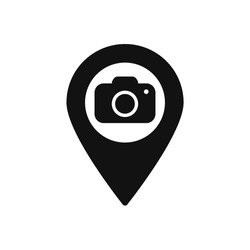 Map marker with Camera icon, map pin, GPS location symbol, vector illustration