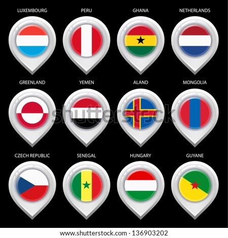 Map marker with flag-set fifth. In this set icons, I drawed these flags: Netherlands, Czech republic, Aland, Senegal, Ghana, Peru, Greenland, Guyane, Luxembourg, Hungary, Yemen, Mongolia