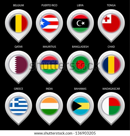 Map marker with flag-set ninth. In this set icons, I drawed these flags: Madagascar, Tonga, Libya, Greece, Bangladesh, Mauritius, Qatar, Puerto rico, Chad, Belgium, Bahamas, India