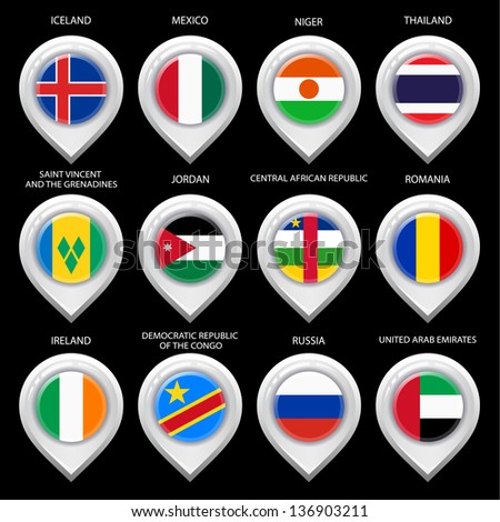 Map marker with flag-set sixth. In this set icons, I drawed these flags: Niger, Democratic republic of the congo, United Arab Emirates, Jordan, Thailand, Iceland, Ireland, Romania, Mexico, Russia