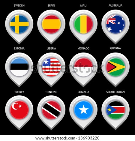 Map marker with flag-set third. In this set icons, I drawed these flags: Trinidad, Guyana, South Sudan, Liberia, Australia, Spain, Monaco, Somalia, Turkey, Mali, Sweden, Estonia