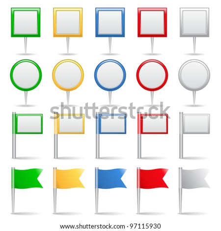 Map markers and flags, vector eps10 illustration