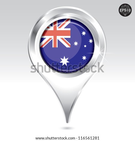Map markers with Flag, vector eps10 illustration