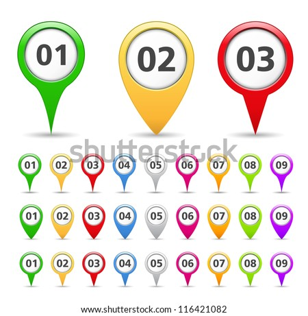 Map markers with numbers, vector eps10 illustration stock photo