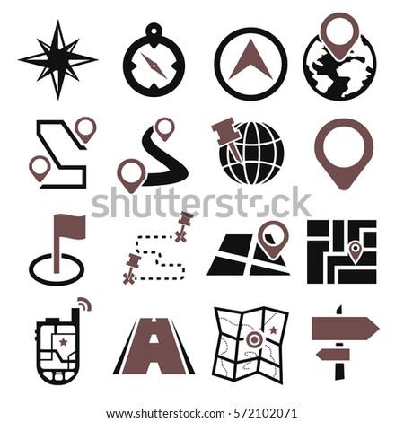 map, navigation icon set