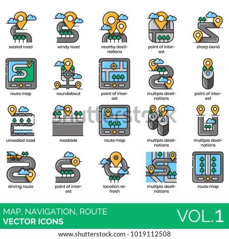 Map, navigation, route icons. Sealed, unsealed, windy road, nearby, sharp bend, point of interest, route map, roundabout, driving route, location refresh, multiple destinations vector illustration.