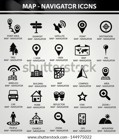Map,Navigator icons,Black version,vector