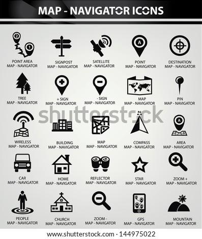 map navigator icons black