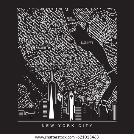 Map New York city illustration, tee shirt graphics, vectors