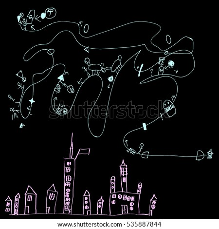 map of a child's drawing vector